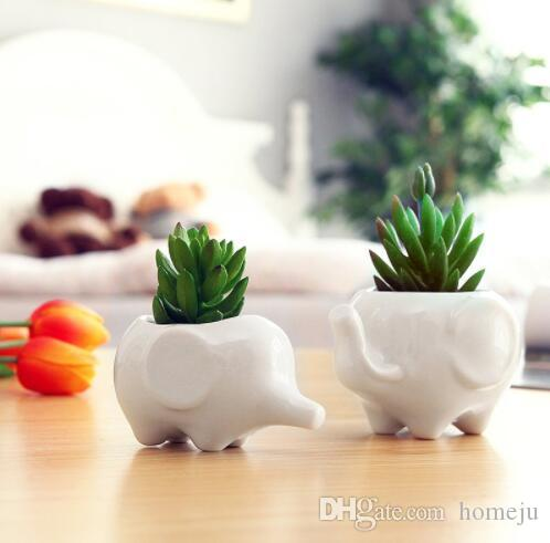 DHgate & Set of 2 Cute Elephant White Ceramic Flower Pot with Tray for Succulents Cactus Plants Mini Pot Planter Home Garden Decoration