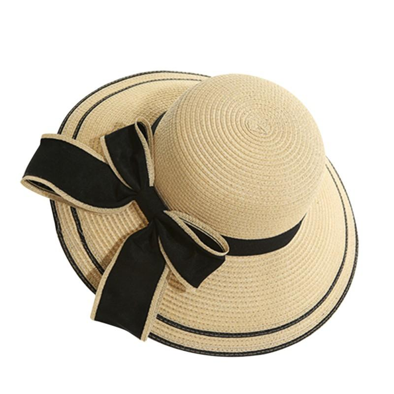 59dd6f052c57c Fashion Women Straw Hat Floppy Wide Brim Bowknot Summer Beach Sun Lady  Casual Cap Sun Hats Mens Hats Floppy Hat From Haydena