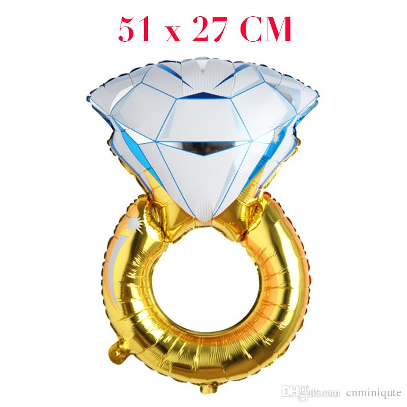Mini Diamond Ring shape Mylar Balloons Party decoration Metallized Balloons Wedding Foil Helium Balloons globos ballon