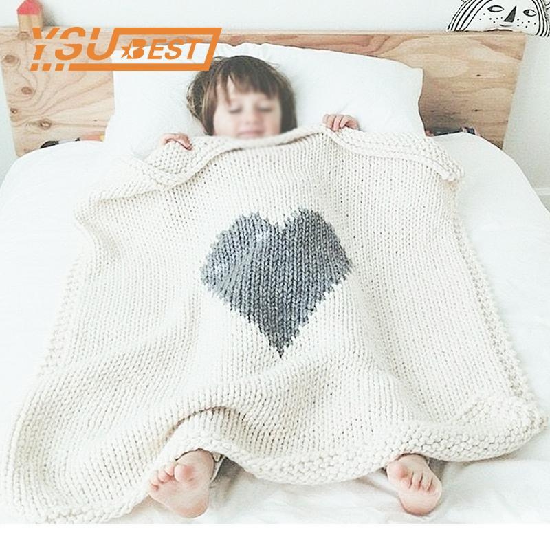 Baby Blankets Newborn Birth Swaddle Wrap Sweet Heart Knitted Kids