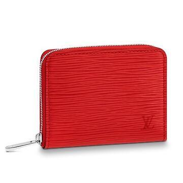 M60720 ZIPPY COIN PURSE Water ripple red Real Chain Bag LONG CHAIN WALLETS  KEY CARD HOLDERS PURSE CLUTCHES EVENING