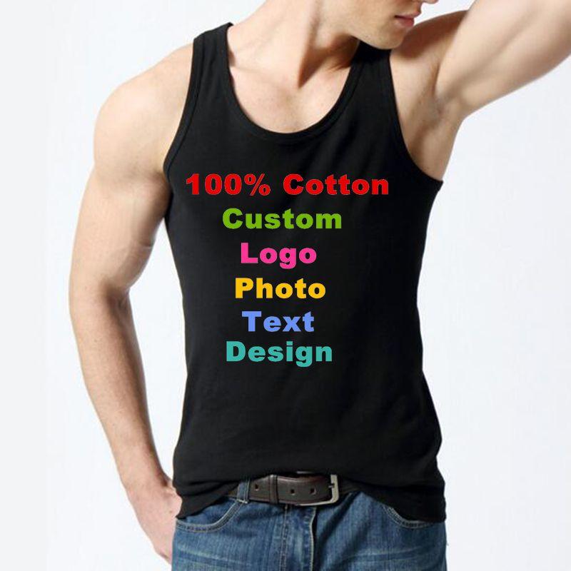 e20315081e 2019 Custom Logo Summer Men's T Shirts Cotton Slim Fit Tank Top Men ...