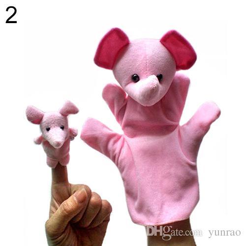 Pulcini a mano 2 PZ grandi papà / mamma piccolo bambini 12 bambini di animali educazione infantile un paio di burattini peluche