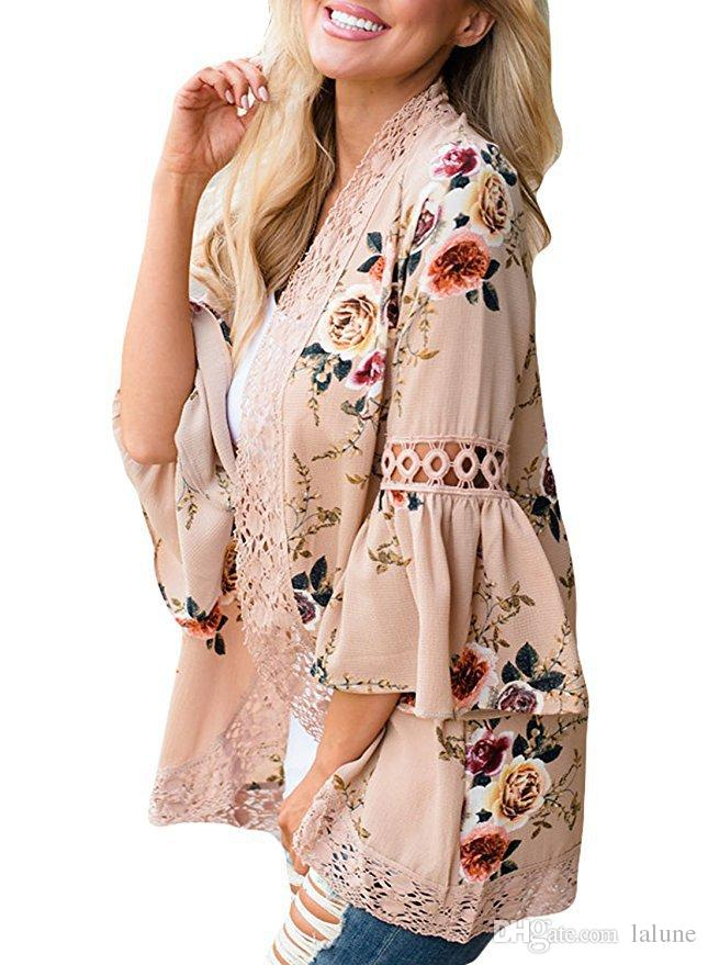c6808bd13 Fashion Flare Sleeve Crochet Lace Chiffon Coat Women Casual Floral Print  Kimono Ladies Casual Spring Open Front Outwear Tops