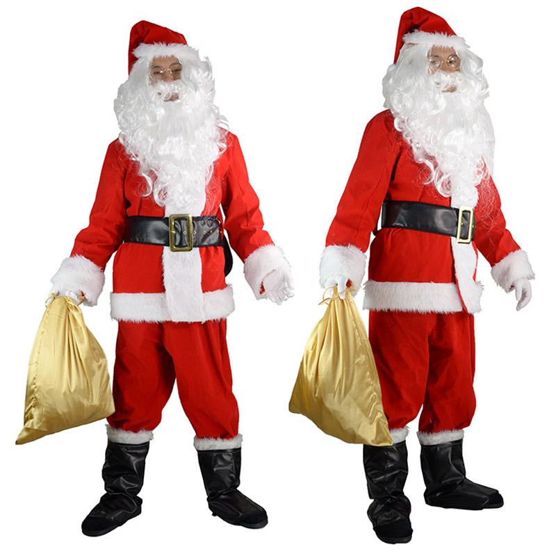 ce1d6438e5ea5 Adult Santa Claus Costume Suit Plush Father Fancy Clothes Xmas Cosplay  Props Men Beard Belt Hat Christmas 10pcs Luxury Suit