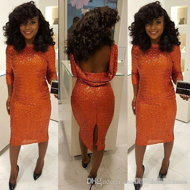 Sparkly Orange Sequined Evening Dresses 3/4 Long Sleeves Bateau Neck Tea Length Prom Dress Attractive Backless Slit Party Gowns Club Wear