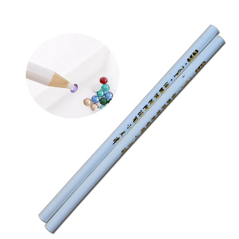 2pcs Professional Wax Dotting Pen Nail Art Rhinestones Gems Picking Crystal Tools Pencil Pen Easily Pick Up Manicure LATR36