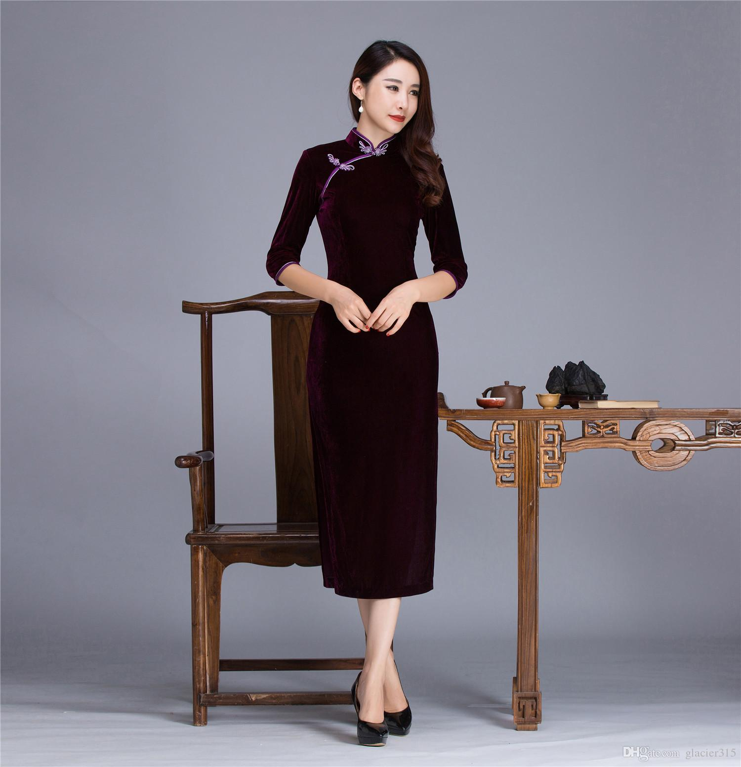 Shanghai Story Solid Color Qipao Long Chinese Dress Velvet Chinese ...
