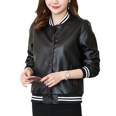 2e76ed206d58 2019 Lady Black PU Leather Jackets 2018 New Women Long Sleeve Leather  Baseball Jacket Pockets From Shuokai1993