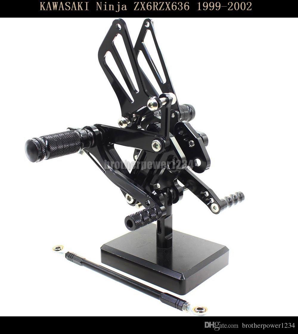 Estriberas Traseras para los pies Clavijas CNC Juego de reposapiés Reposapiés totalmente ajustables Patas traseras para KAWASAKI Ninja ZX6R ZX636 1999- 2002