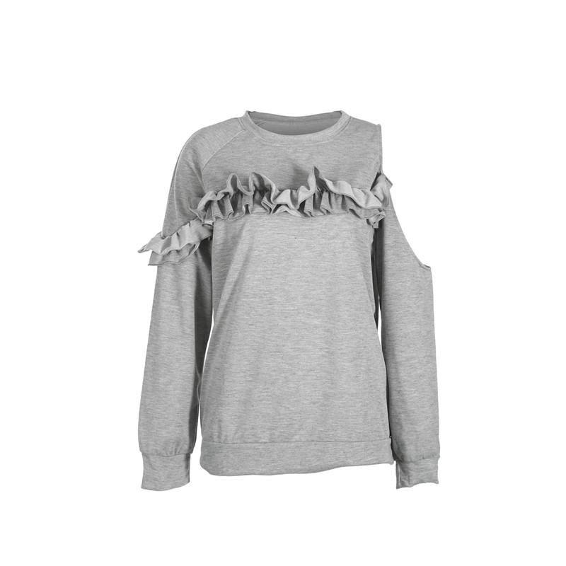 dae57ae0da111 Acheter À La Mode Femmes Vêtements À Manches Longues À Volants Col Rond En  Coton Solide Sweat Shirts Une Épaule Décontractée Pull Over Une Pièces De  $20.11 ...