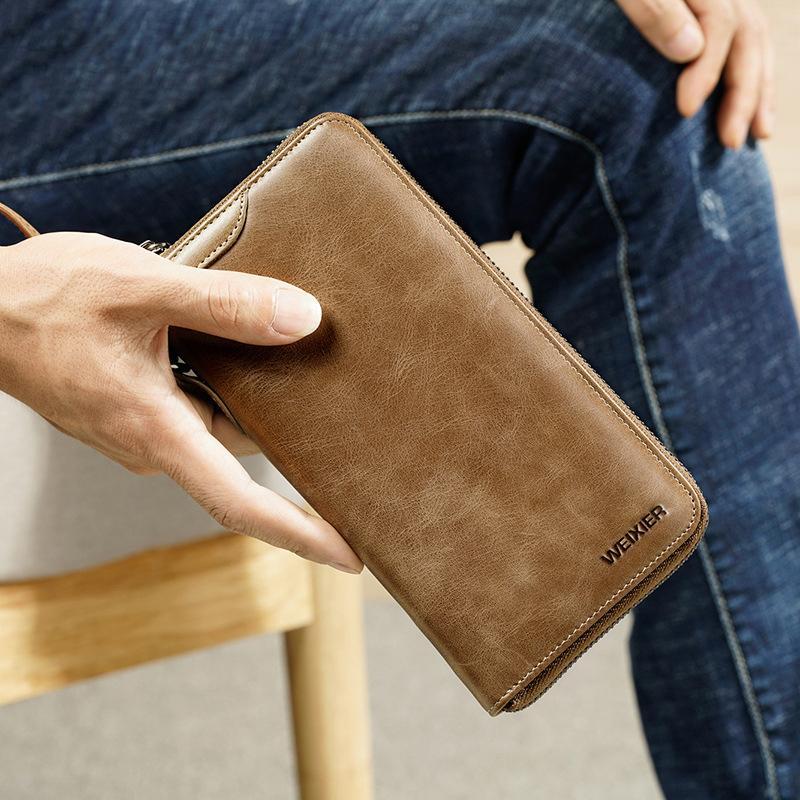 217ec232d2f 2018 New Trend Vintage Fashion Men Long Wallet Men Split Leather Wallet  Card Holder Male Zipper Purse Coin Purse Male Clutch Bag Wallet Brands  Girls Wallets ...