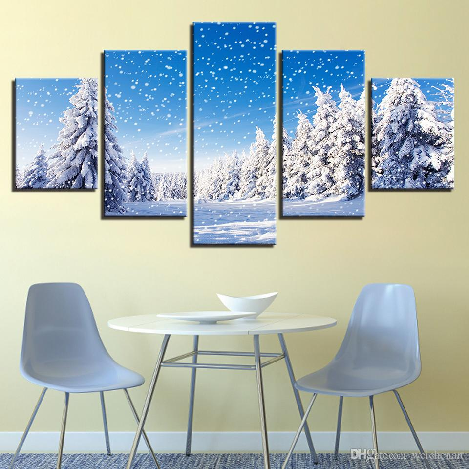 Canvas HD Prints Pictures Wall Art Framework Snow Scene Poster Christmas Pine Trees Snowing Paintings Living Room Artworks