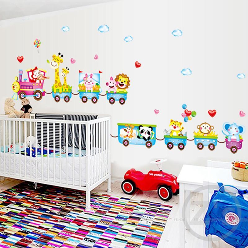 Autocollant Zs train stickers muraux jungle décor mural chambre enfants  décoration pour la maison garçons chambre cirque murale
