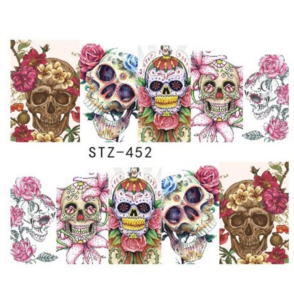1 Sheet Halloween Skull Designs Decal Full Cover Nail Art Decorations  Flowers Water Transfer Nails Stickers Slider Jistz449 452 Nail Polish Sticker  Nails ...
