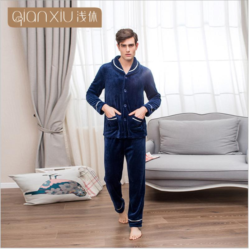 2017 Winter Brand homewear Men's Casual Pajama sets Male Turn-down collar cardigan coat & pants Men Coral fleece sleepwear suit