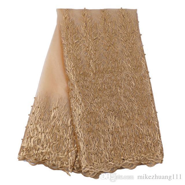 Tissu nigérian en dentelle Tulle 2017 Elegance beige Tissu en dentelle africaine / Tissu de haute qualité en dentelle française