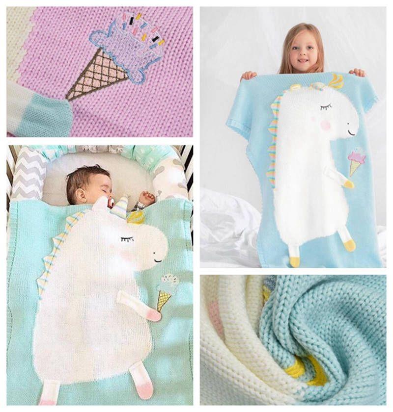 купить оптом Ins единорог детские одеяла хлопок животное вязаное