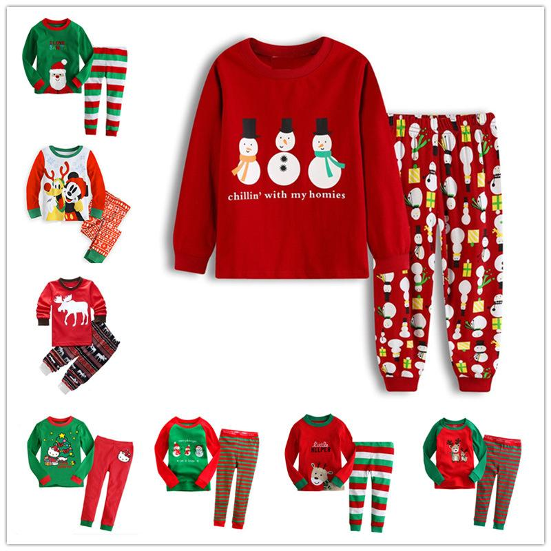 kids christmas pajamas set xmas santas little helper girl boys cotton pyjama snowman cartoon sleepwear children super man hero nightwear new childrens