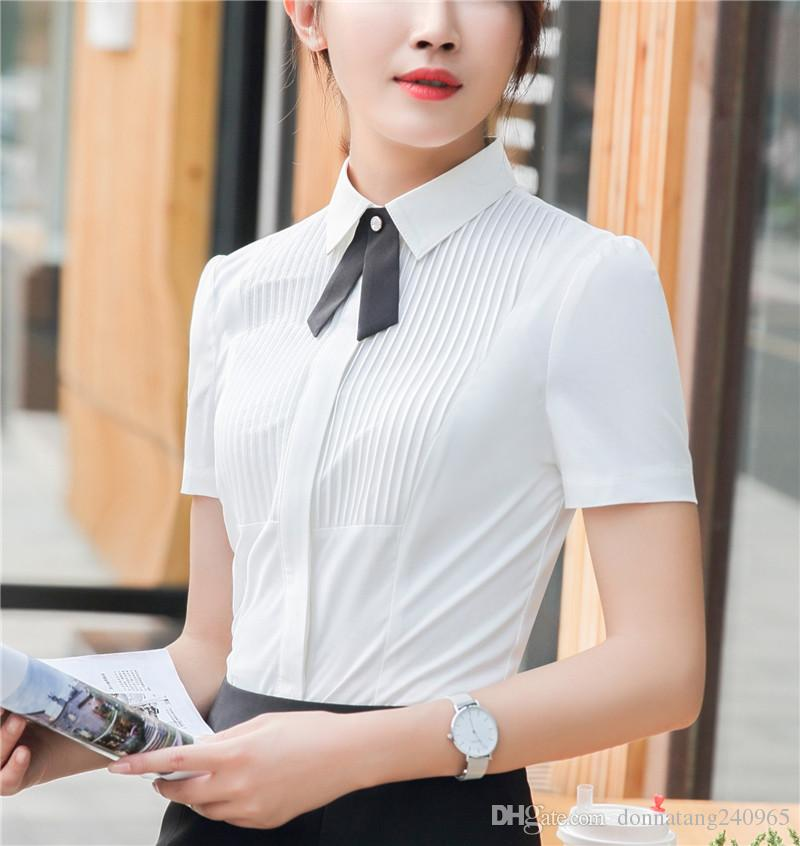 7869d9d7c638f 2019 New Women Blouse Summer Shirt Short Sleeve Pleat Front Bow Fashion  Body Blouses White Office Chiffon Female Clothing Plus Size Korean Tops  From ...