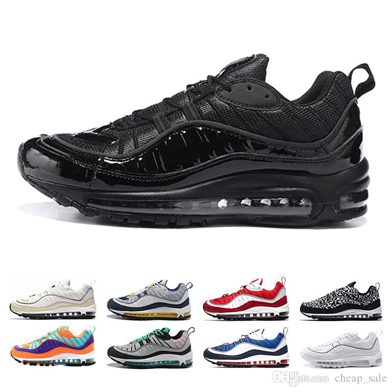 nike air max 98 con la caja 98 zapatos Triple Negro Zapatillas OG Metallic Red Cone Gundam all Blanco Zapatillas deportivas Zapatillas deporte