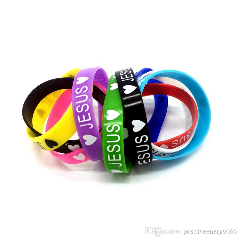 New Silicone Bracelet Elastic Rubber wristbands men women's jewelry Fashion Accessories Mix Colors Randomly Heart shaped love Jesus gifts