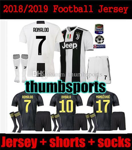 df228e808aa 10 Free DHL! MEN KIT 2018 2019 RONALDO JUVENTUS Soccer Jersey 18 19 ...