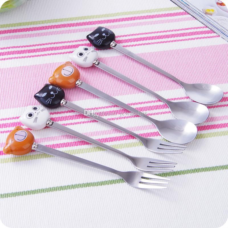 Posate cucchiaio da tavola bambini Set di posate cucchiaio da forno in acciaio inox Gatto orso all'ingrosso