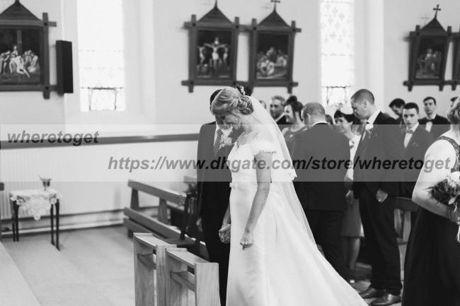 Mütevazı çıkarılabilir düğün omuz saten üst etek V yaka ülke denizkızı dantel gelinlik gelinlik kapalı elbise