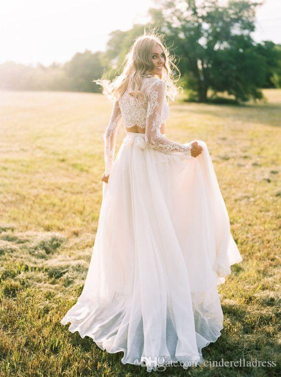 2019 Modest Two Piece Bohemian Wedding Dresses Long Sleeves Lace Crop Top Chiffon Beach Country Wedding Gowns BA6815