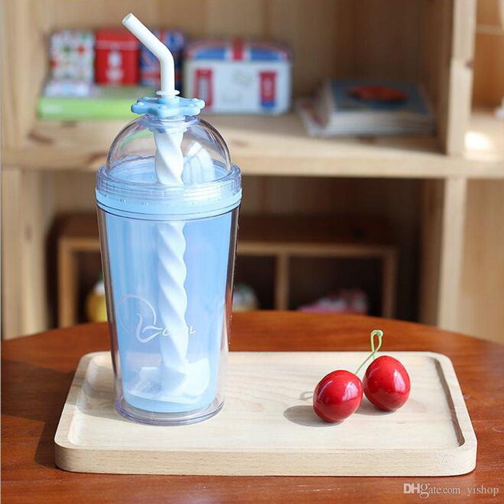 Wholesale Portable Juice Water Bottle Summer Colorful Cool Ice Double Plastic Straw Couple Cup Glass Bottles Drinkware DHL