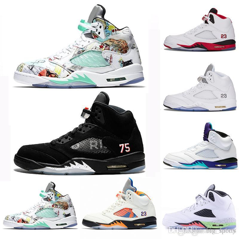 new arrivals 36770 1eadb Acheter Nike Air Jordan Retro 2018 Fresh Prince 5 Wings 5s PSG Noir Hommes  Chaussures De Basketball PARIS Laney Oreo Argent OG Blanc Grape Space Jam  Homme ...