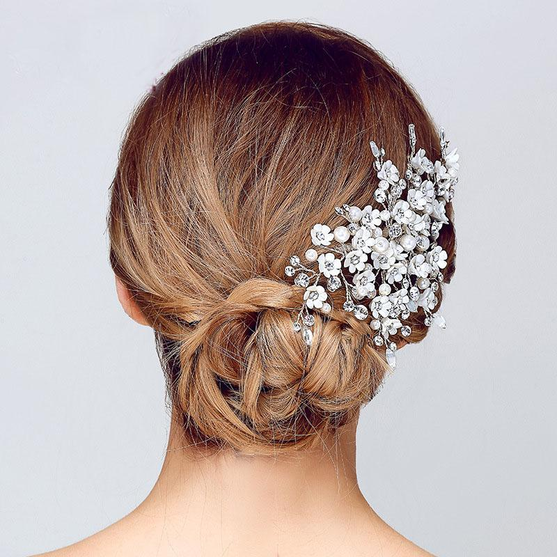 98f1f80c2d394 Wedding Clip Gorgeous Handmade Clear Crystal And Pearls Flower ...
