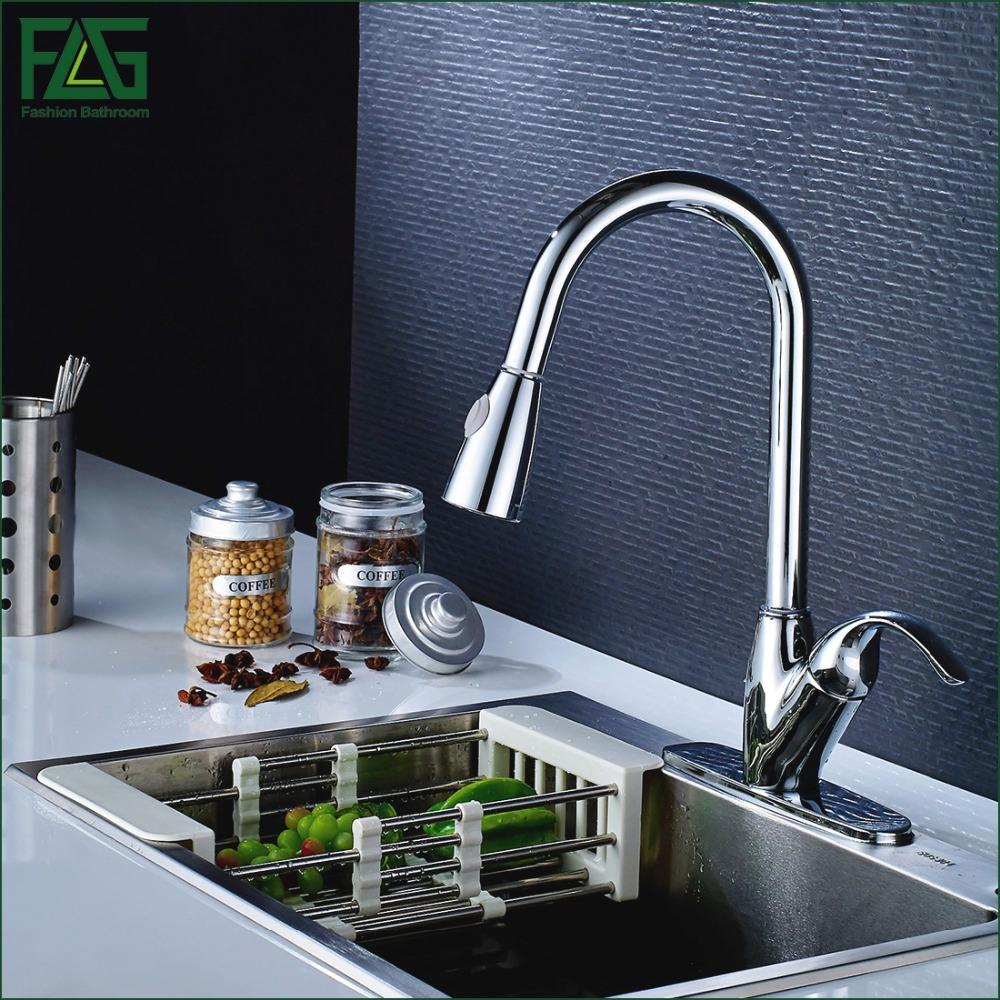 FLG Kitchen Faucet All Around Rotate Swivel 2-Function Water Outlet Deck  Mounted Single Hole With 3 Hole Cover Plate Water T
