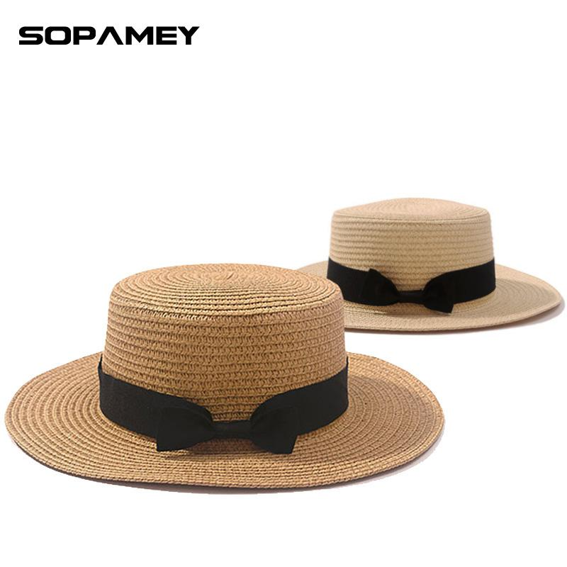 5174797c4d9c7 2017 Summer Lady Boater Sun Caps Ribbon Round Flat Top Straw Fedora Panama  Hat Summer Hats For Women Straw Hat Snapback Gorras Top Hats Cloche Hat  From ...