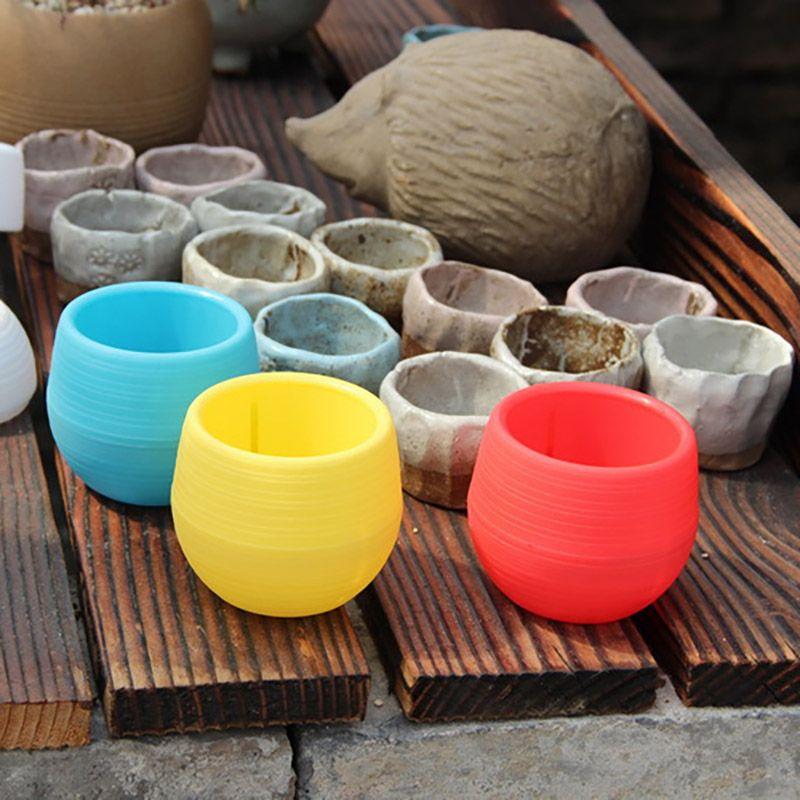 Colorful Mini Flower Pots Planting Pot Gardening Plastic Pots Plant Flowerpot Office Decoration Garden Supplies 10*10cm Free DHL HH7-897