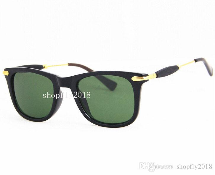 New Arrival Fashion Sunglasses For Men Women Sun Glasses Black Frame 52mm Blue Mirror Glass Lenses With Brown Cases
