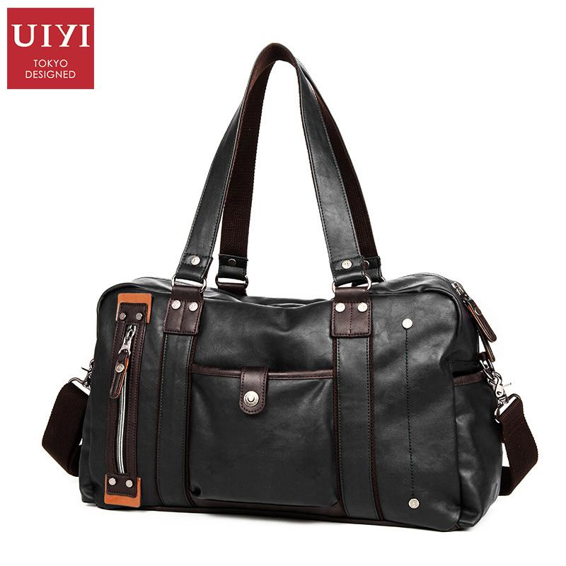 a9c4a46a6aa8 UIYI Men Black PU Leather Travel Bag Casual Luggage Bag For Male Boys  Handbag High Quality Mens Totes Bag Shoulder   UYS7028 Kid Suitcase  Personalized ...