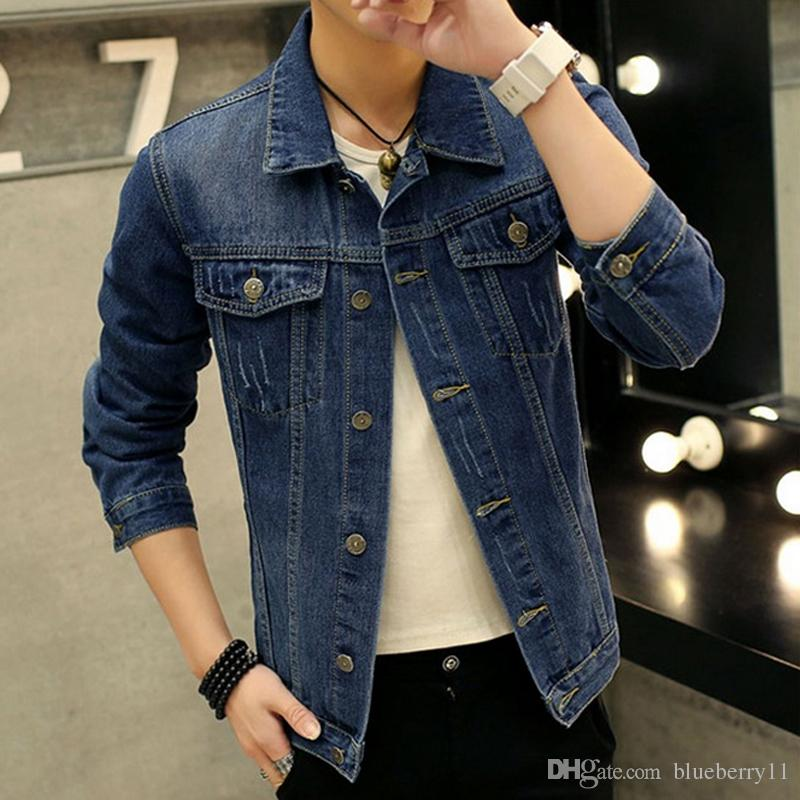 Spring Autumn Europe Style Male Denim Jacket Classic Fashion Long