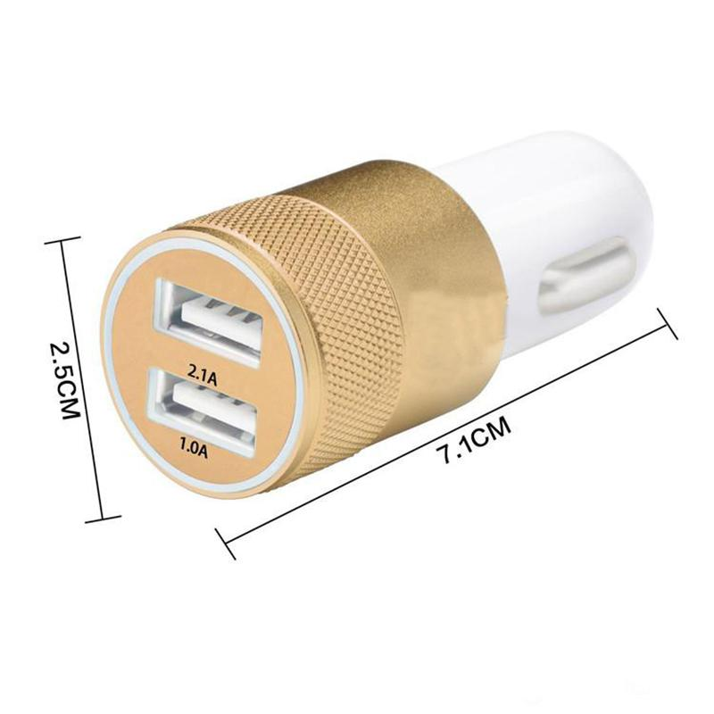 Doppia porta USB caricabatteria da auto universale 2.1A alluminio 2 porte Fast Caricabatteria da auto con imballaggio al dettaglio Samsung S6 S7