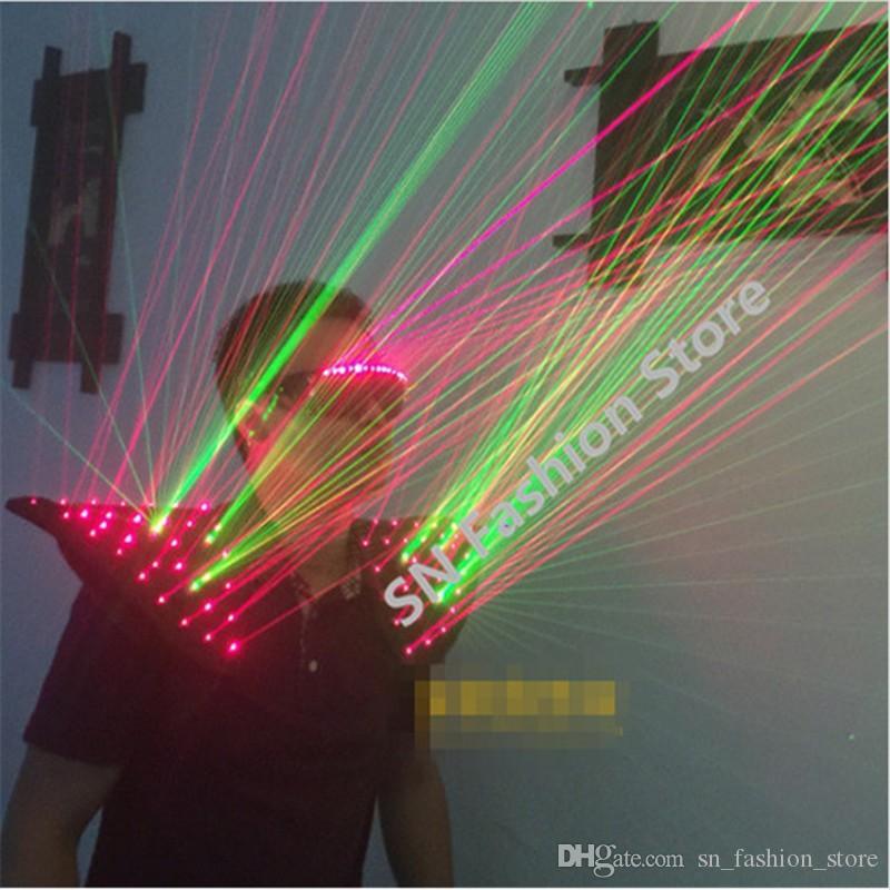 HH11 Yeşil + kırmızı renkler Lazer yelek bar parti DJ disko sahne Işıklı kostümleri performans aydınlık giydirin balo salonu dans robot gözlük ktv