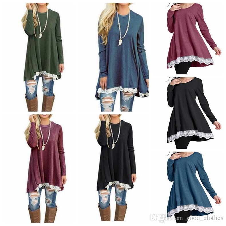 Women Long Sleeve Loose Shirt Dress Print Tunic Tops Women Fashion Blouse Lace Dress Shirt Women S Clothing Kka3908