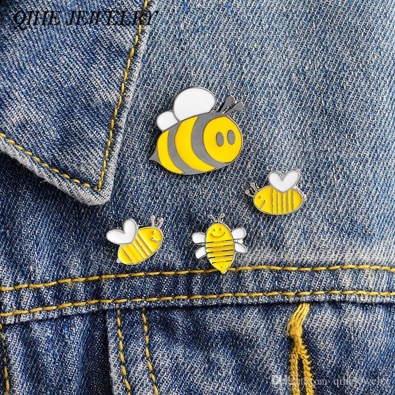 cc98f6066 QIHE JEWELRY Honey Bee Family Pin Cute Cartoon Brooches Bee Badges ...