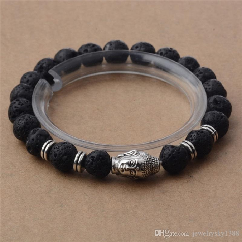 New Handmade Diffuser Natural Stone Agate Bracelets Women Jewelry Charms Volcanic Rock Silver Plated Buddha Head Beads Bracelets for Men