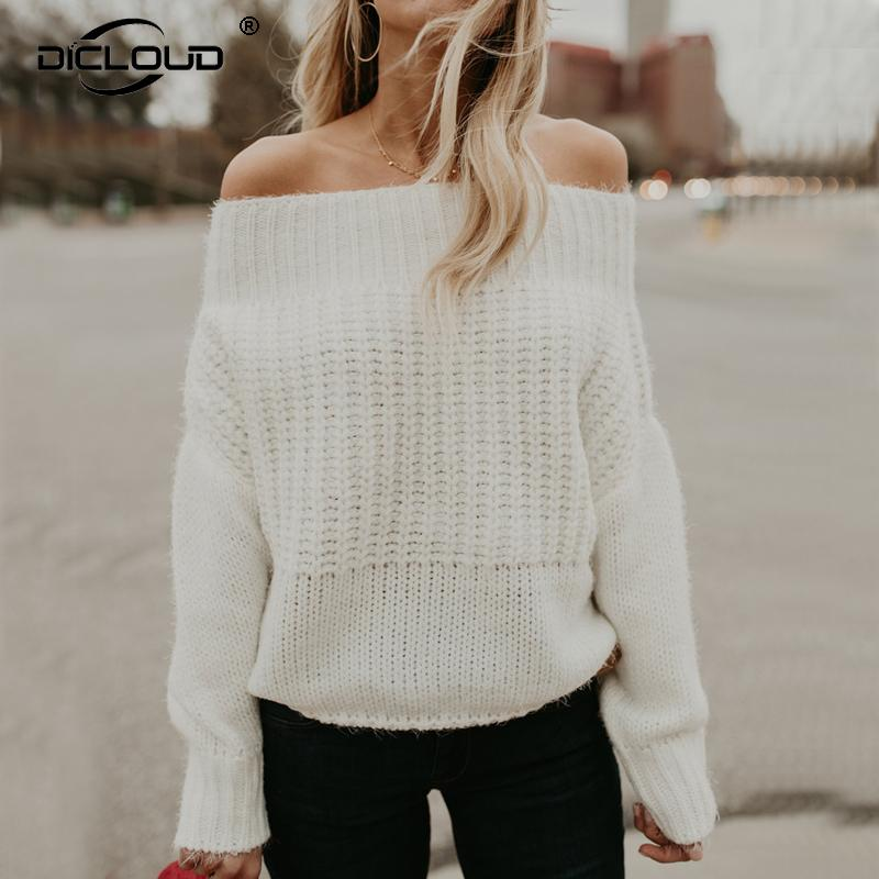 2da852c4015b 2019 Oversized Sweaters And Pullovers Women 2018 Autumn Winter Off Shoulder  Knitted Sweater Tops Fluffy Cozy Jumper Casual Pull Femme From Karel