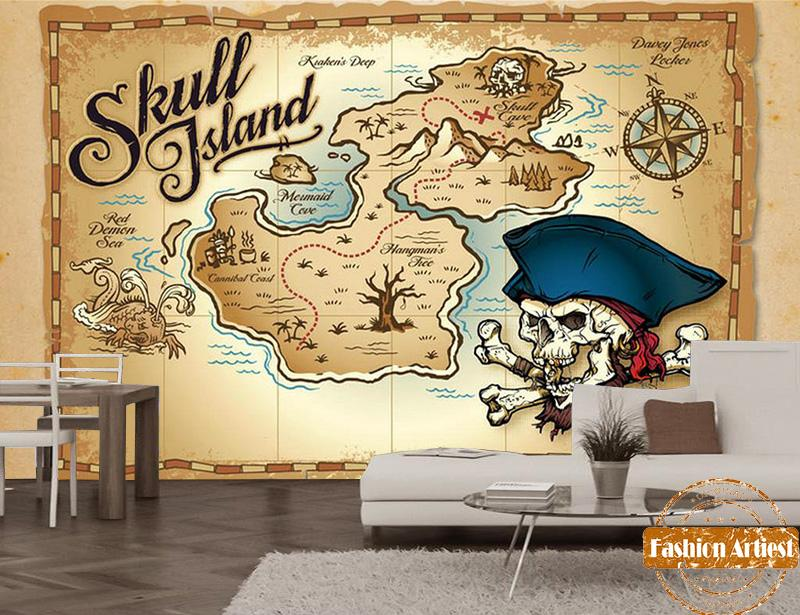 Beibehang Large Custom Wallpapers 3d Hd Seaview Rocks: Cartoon Pirate Ship Wall Mural Custom Made To Suit Your T