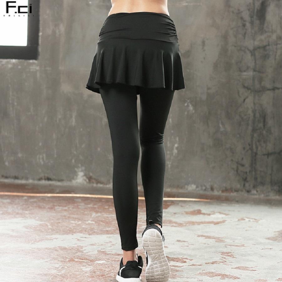 d66ddae34c 2019 FRECICI Women Yoga Skirt Pants Full Length Divided Skirt Leggings  Workout Fitness Divided Jogging Pantskirt Dance Wear From Duriang, $33.71 |  DHgate.