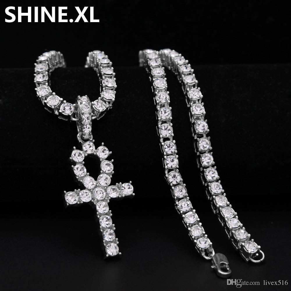 Hombre helado de Hip Hop de oro Artificial Diamond Ankh Cross Lab Diamond 1 Row Tennis Chain 24 pulgadas Bling Jewelry