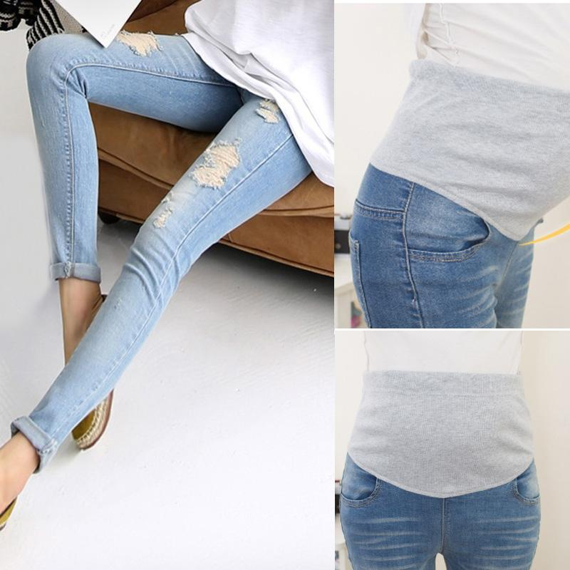 a0b629720d148 2019 Fashion Maternity Holes Elastic Jeans Pants Pregnancy Denim Clothes  Pregnant Women Belly High Waist Trousers @ZJF From Jeanyme, $30.43 |  DHgate.Com