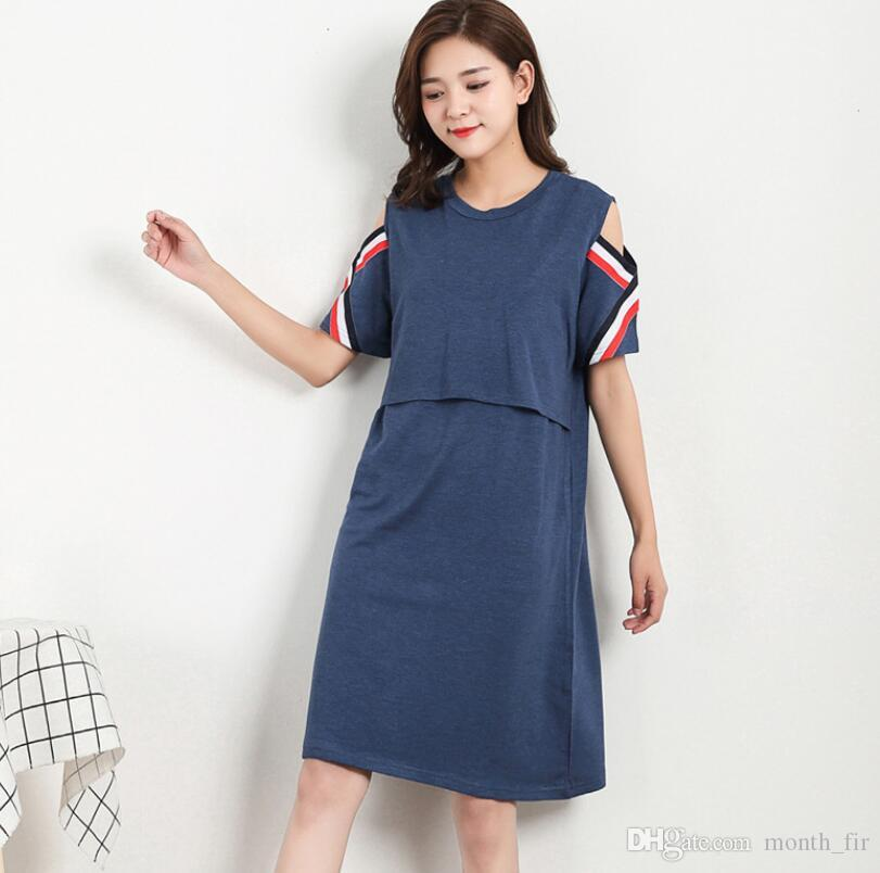 2018 Pregnancy Pregnant Women Short Sleeve Feeding Nursing Dresses